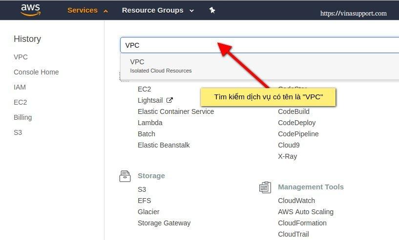 Tìm kiếm dịch vụ VPC